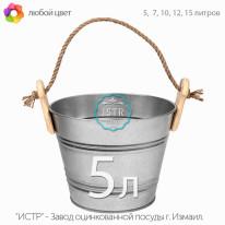 Ведро декоративное оцинкованное — 5 литров ( дерево / джут)